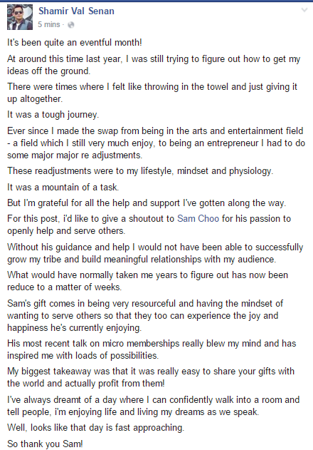 What Shamir Val Senan said about Sam Choo