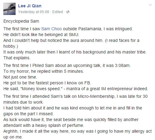 lee ji qian testimonial about Sam Choo
