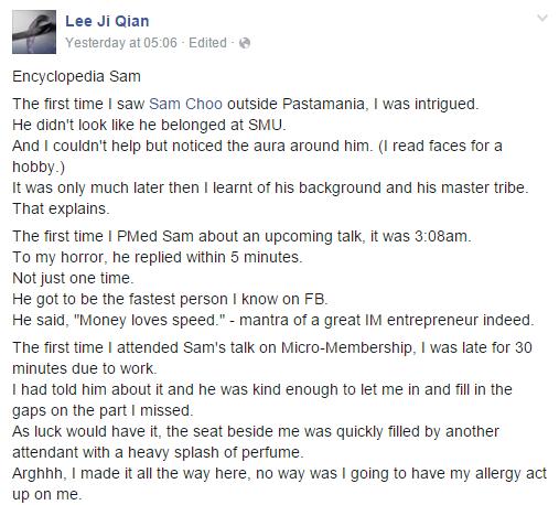 lee ji qian testimonial about Sam Choo